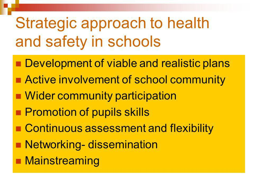 Strategic approach to health and safety in schools Development of viable and realistic plans Active involvement of school community Wider community participation Promotion of pupils skills Continuous assessment and flexibility Networking- dissemination Mainstreaming