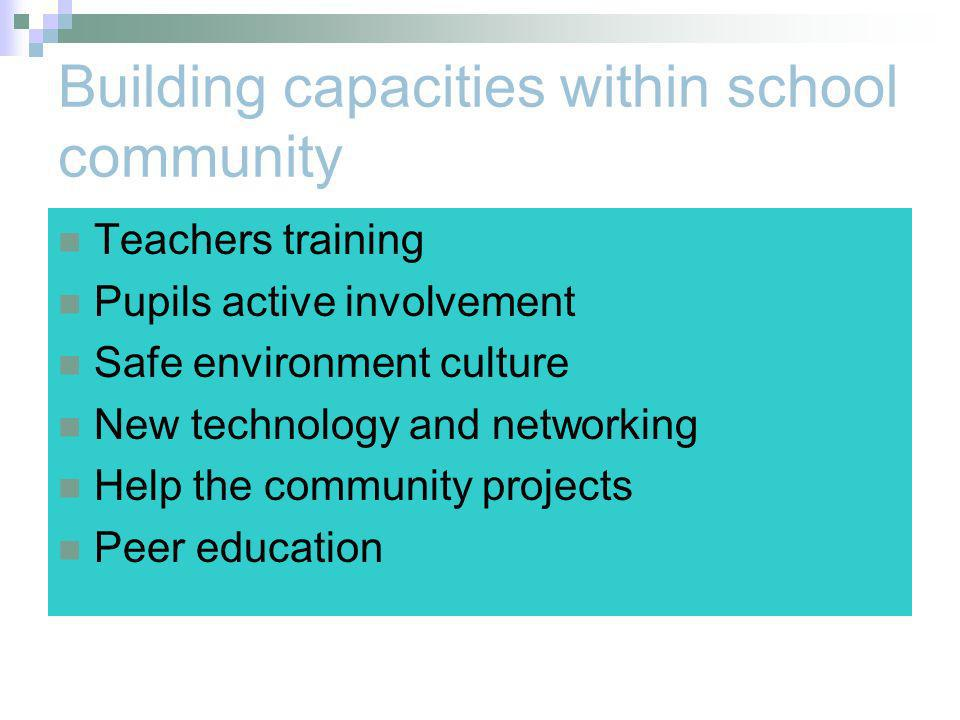 Building capacities within school community Teachers training Pupils active involvement Safe environment culture New technology and networking Help the community projects Peer education