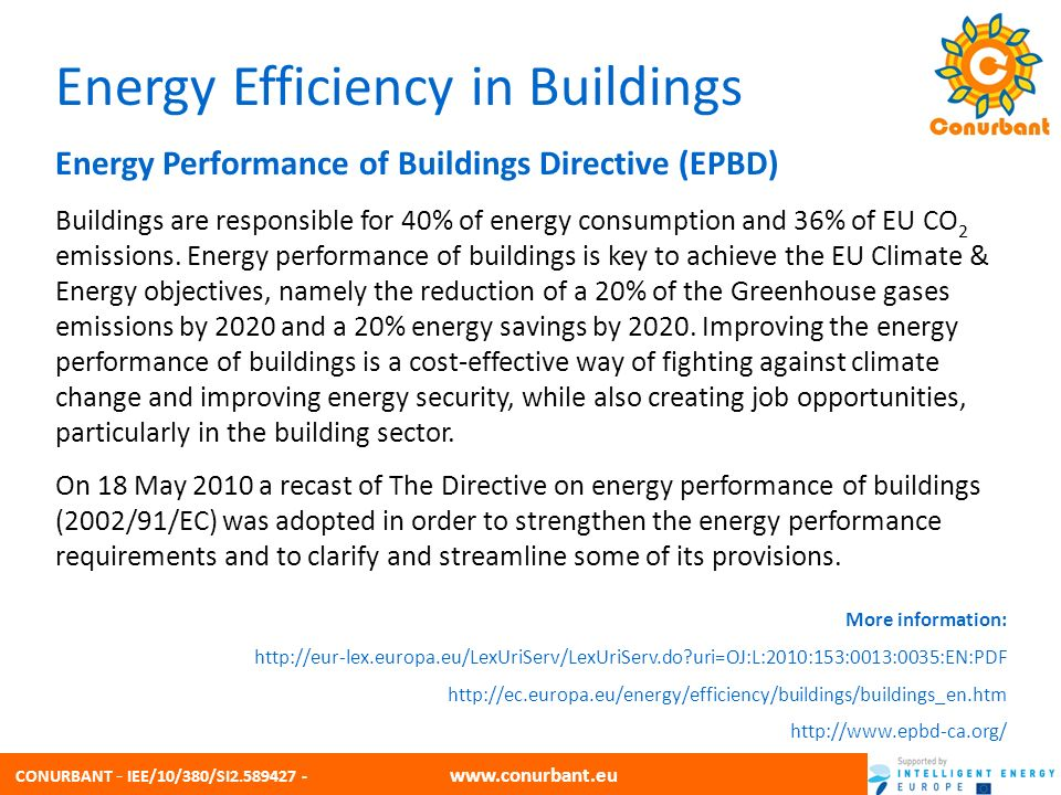 CONURBANT - IEE/10/380/SI2.589427 - www.conurbant.eu Energy Efficiency in Buildings Energy Performance of Buildings Directive (EPBD) Buildings are responsible for 40% of energy consumption and 36% of EU CO 2 emissions.