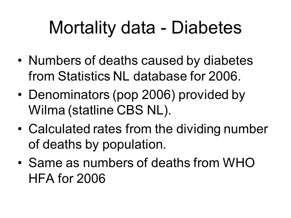 Mortality data - Diabetes Numbers of deaths caused by diabetes from Statistics NL database for 2006.