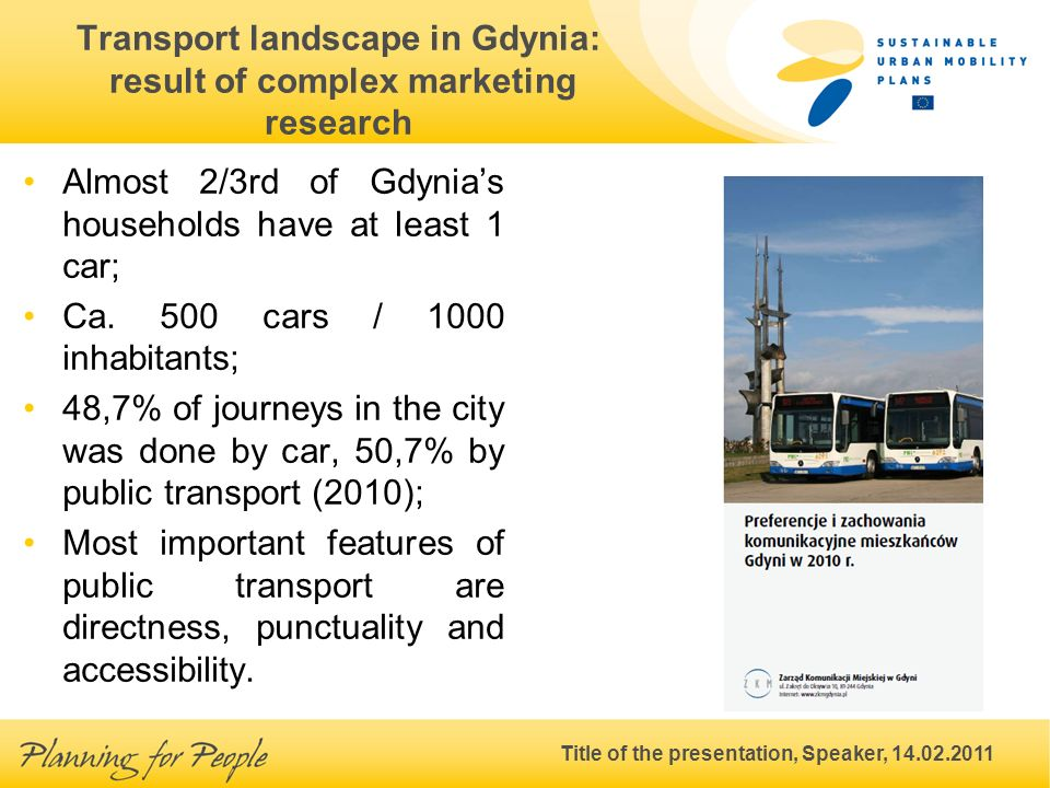 Title of the presentation, Speaker, 14.02.2011 Transport landscape in Gdynia: result of complex marketing research Almost 2/3rd of Gdynias households have at least 1 car; Ca.