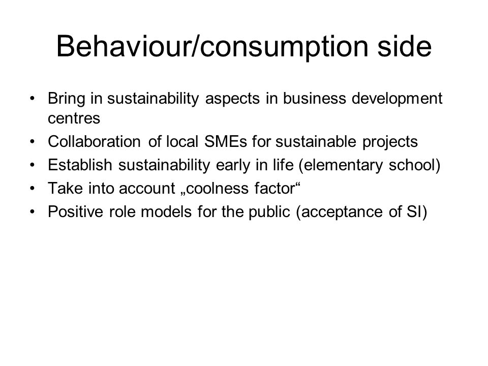 Behaviour/consumption side Bring in sustainability aspects in business development centres Collaboration of local SMEs for sustainable projects Establish sustainability early in life (elementary school) Take into account coolness factor Positive role models for the public (acceptance of SI)