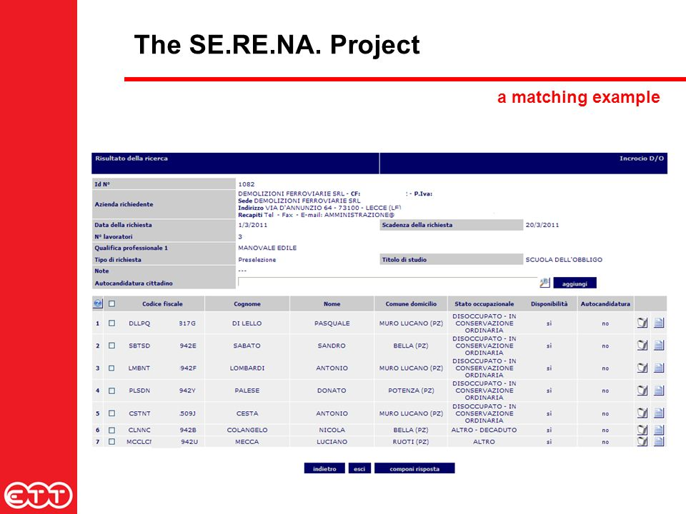 The SE.RE.NA. Project a matching example