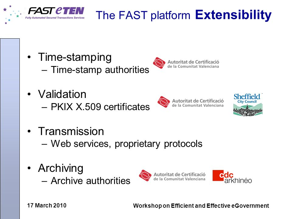 17 March 2010 Workshop on Efficient and Effective eGovernment The FAST platform Extensibility Time-stamping –Time-stamp authorities Validation –PKIX X.509 certificates Transmission –Web services, proprietary protocols Archiving –Archive authorities