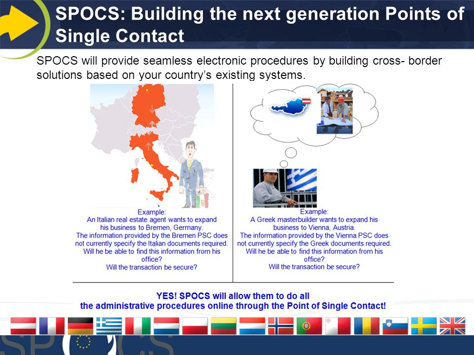 SPOCS: Building the next generation Points of Single Contact SPOCS will provide seamless electronic procedures by building cross- border solutions based on your countrys existing systems.