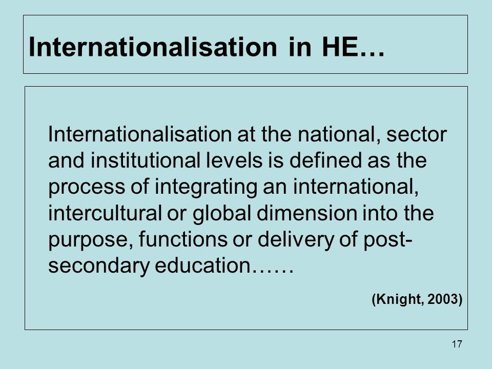 17 Internationalisation in HE… Internationalisation at the national, sector and institutional levels is defined as the process of integrating an international, intercultural or global dimension into the purpose, functions or delivery of post- secondary education…… (Knight, 2003)