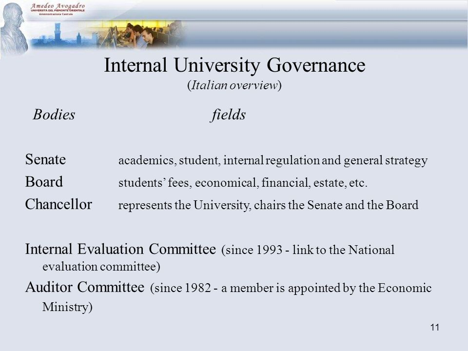 11 Internal University Governance (Italian overview) Bodiesfields Senate academics, student, internal regulation and general strategy Board students fees, economical, financial, estate, etc.