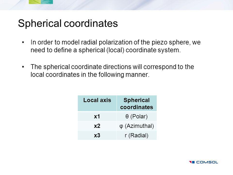 Spherical coordinates In order to model radial polarization of the piezo sphere, we need to define a spherical (local) coordinate system.