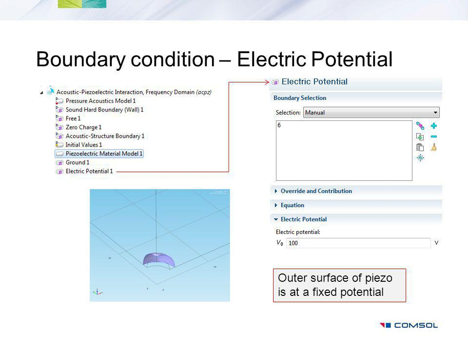 Boundary condition – Electric Potential Outer surface of piezo is at a fixed potential
