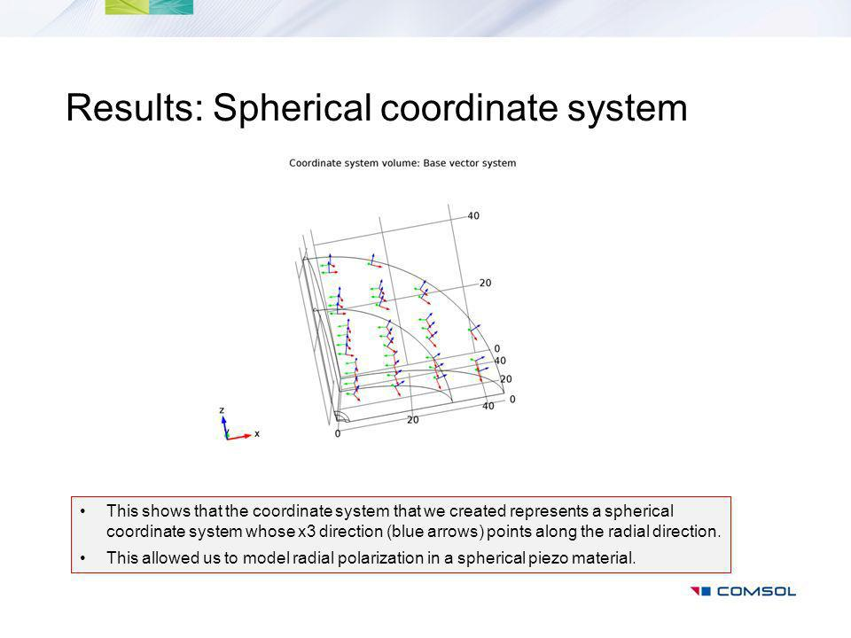 Results: Spherical coordinate system This shows that the coordinate system that we created represents a spherical coordinate system whose x3 direction (blue arrows) points along the radial direction.