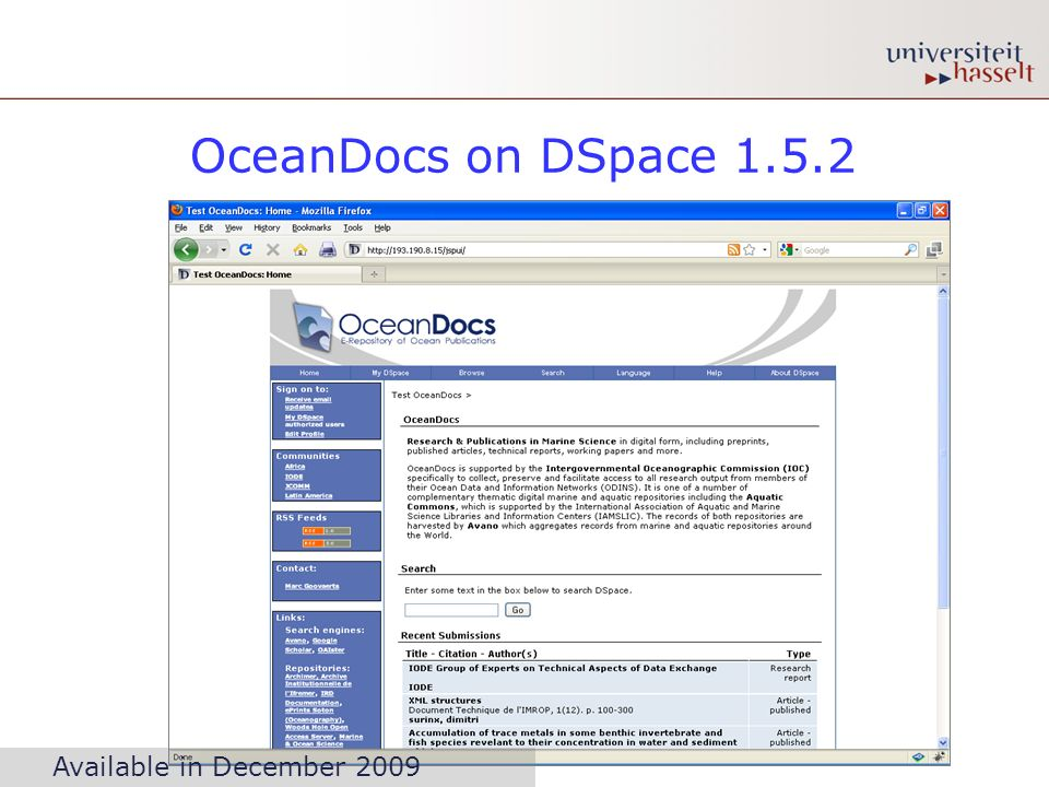 OceanDocs on DSpace 1.5.2 Available in December 2009