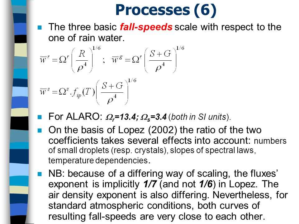 Processes (6) n The three basic fall-speeds scale with respect to the one of rain water.