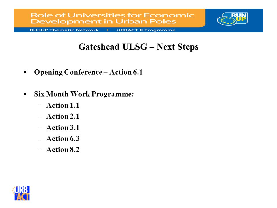 Gateshead ULSG – Next Steps Opening Conference – Action 6.1 Six Month Work Programme: –Action 1.1 –Action 2.1 –Action 3.1 –Action 6.3 –Action 8.2