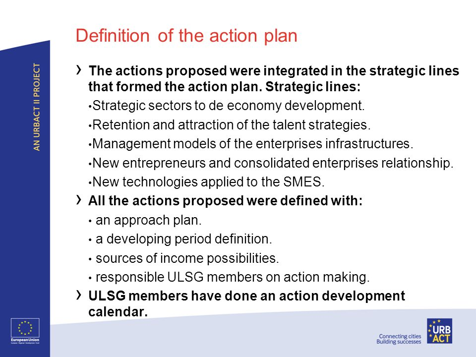 Definition of the action plan The actions proposed were integrated in the strategic lines that formed the action plan.