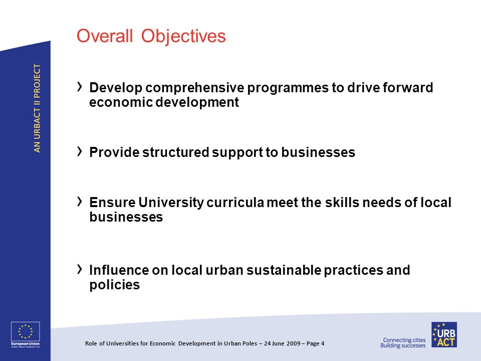 Overall Objectives Develop comprehensive programmes to drive forward economic development Provide structured support to businesses Ensure University curricula meet the skills needs of local businesses Influence on local urban sustainable practices and policies Role of Universities for Economic Development in Urban Poles – 24 June 2009 – Page 4