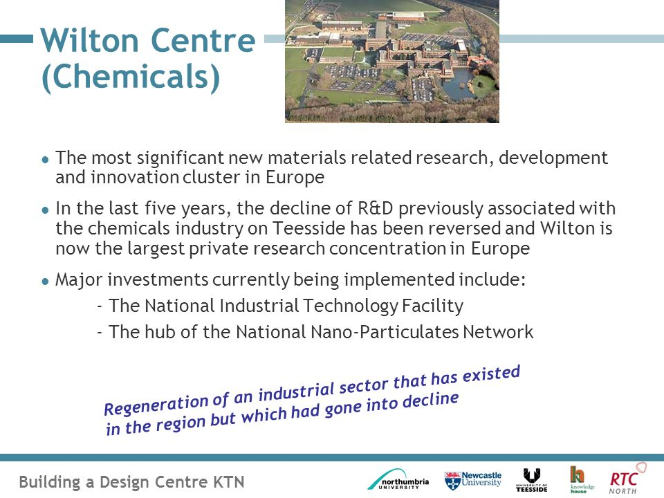 Building a Design Centre KTN Wilton Centre (Chemicals) The most significant new materials related research, development and innovation cluster in Europe In the last five years, the decline of R&D previously associated with the chemicals industry on Teesside has been reversed and Wilton is now the largest private research concentration in Europe Major investments currently being implemented include: - The National Industrial Technology Facility - The hub of the National Nano-Particulates Network Regeneration of an industrial sector that has existed in the region but which had gone into decline