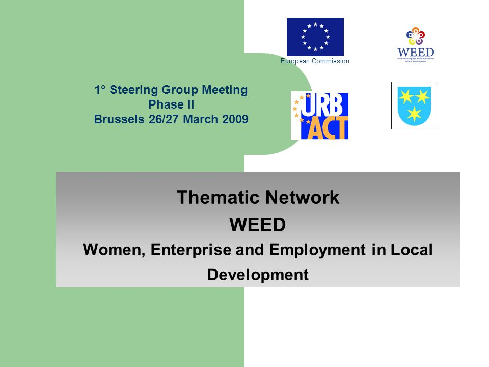 Thematic Network WEED Women, Enterprise and Employment in Local Development 1° Steering Group Meeting Phase II Brussels 26/27 March 2009 European Commission