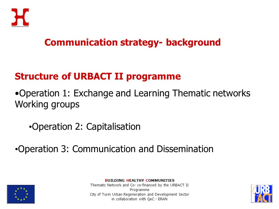 Communication strategy- background Structure of URBACT II programme Operation 1: Exchange and Learning Thematic networks Working groups Operation 2: Capitalisation Operation 3: Communication and Dissemination BUILDING HEALTHY COMMUNITIES Thematic Network and Co- co-financed by the URBACT II Programme City of Turin Urban Regeneration and Development Sector in collaboration with QeC - ERAN