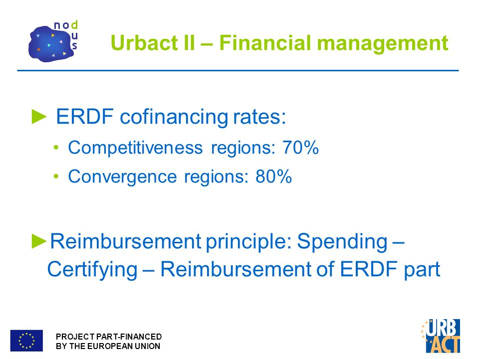 PROJECT PART-FINANCED BY THE EUROPEAN UNION Urbact II – Financial management ERDF cofinancing rates: Competitiveness regions: 70% Convergence regions: 80% Reimbursement principle: Spending – Certifying – Reimbursement of ERDF part