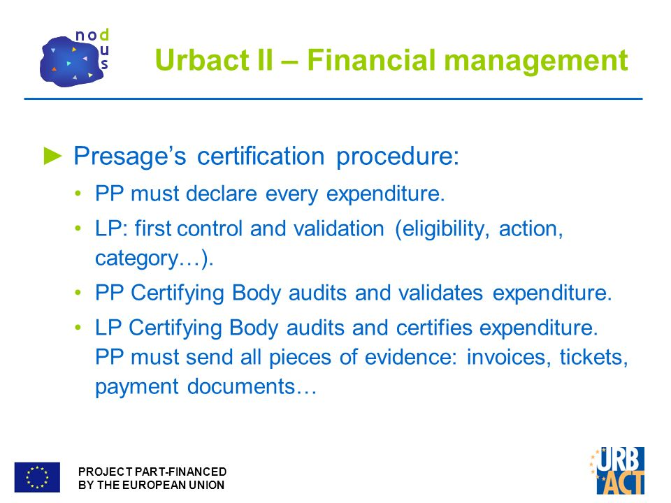 PROJECT PART-FINANCED BY THE EUROPEAN UNION Urbact II – Financial management Presages certification procedure: PP must declare every expenditure.
