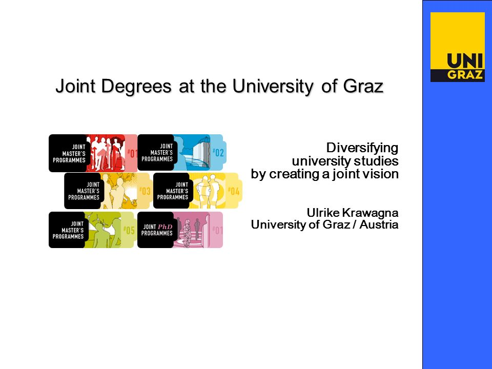 Diversifying university studies by creating a joint vision Ulrike Krawagna University of Graz / Austria Joint Degrees at the University of Graz