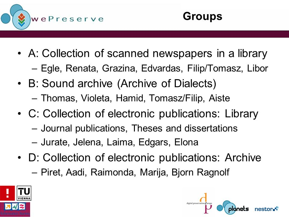 Groups A: Collection of scanned newspapers in a library –Egle, Renata, Grazina, Edvardas, Filip/Tomasz, Libor B: Sound archive (Archive of Dialects) –Thomas, Violeta, Hamid, Tomasz/Filip, Aiste C: Collection of electronic publications: Library –Journal publications, Theses and dissertations –Jurate, Jelena, Laima, Edgars, Elona D: Collection of electronic publications: Archive –Piret, Aadi, Raimonda, Marija, Bjorn Ragnolf