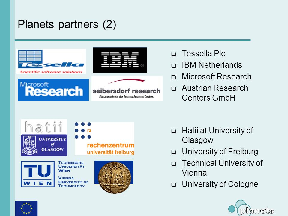 Planets partners (2) Tessella Plc IBM Netherlands Microsoft Research Austrian Research Centers GmbH Hatii at University of Glasgow University of Freiburg Technical University of Vienna University of Cologne