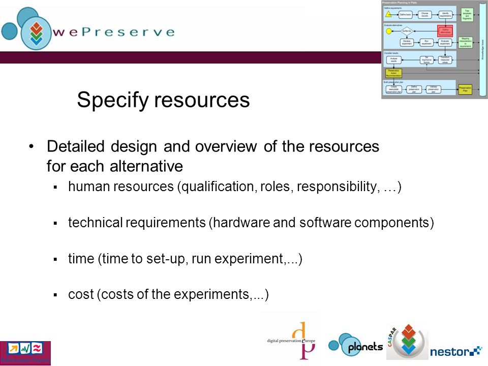 Specify resources Detailed design and overview of the resources for each alternative human resources (qualification, roles, responsibility, …) technical requirements (hardware and software components) time (time to set-up, run experiment,...) cost (costs of the experiments,...)