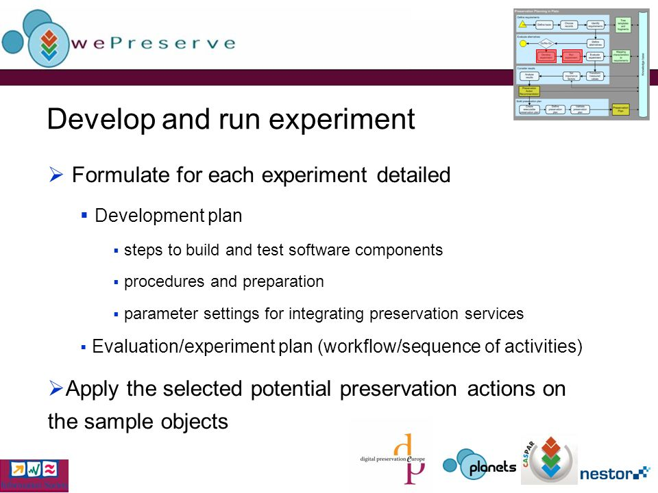 Develop and run experiment Formulate for each experiment detailed Development plan steps to build and test software components procedures and preparation parameter settings for integrating preservation services Evaluation/experiment plan (workflow/sequence of activities) Apply the selected potential preservation actions on the sample objects