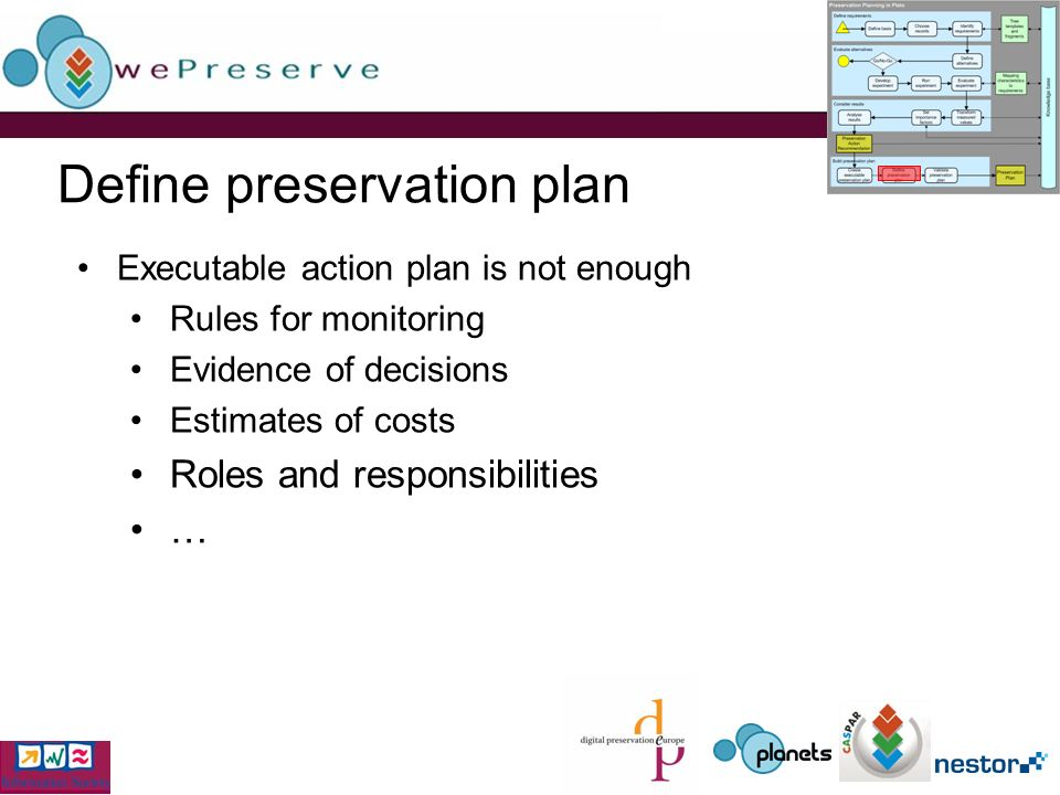 Define preservation plan Executable action plan is not enough Rules for monitoring Evidence of decisions Estimates of costs Roles and responsibilities …