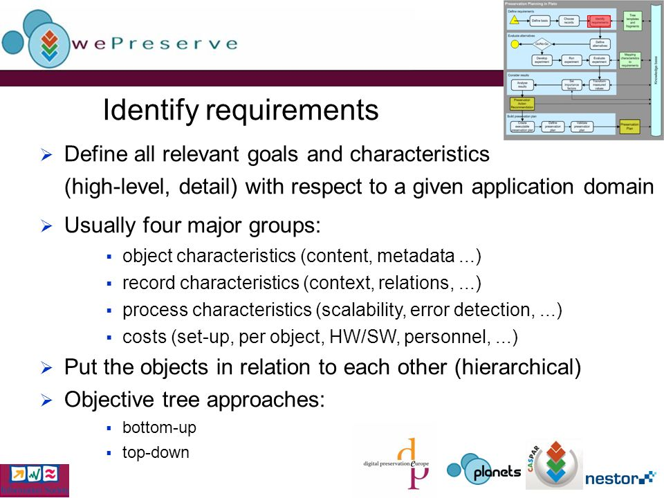 Identify requirements Define all relevant goals and characteristics (high-level, detail) with respect to a given application domain Usually four major groups: object characteristics (content, metadata...) record characteristics (context, relations,...) process characteristics (scalability, error detection,...) costs (set-up, per object, HW/SW, personnel,...) Put the objects in relation to each other (hierarchical) Objective tree approaches: bottom-up top-down