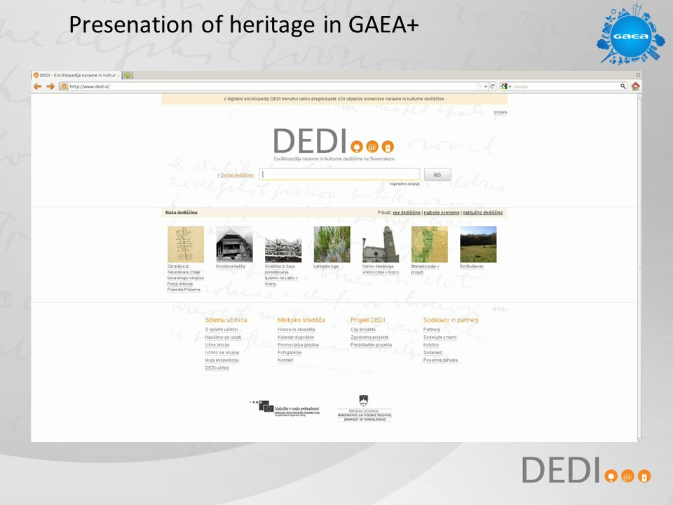 Presenation of heritage in GAEA+