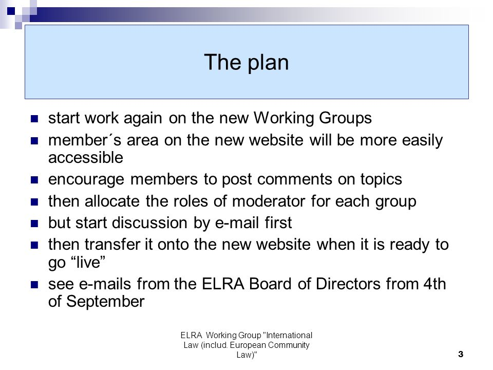 ELRA Working Group International Law (includ.