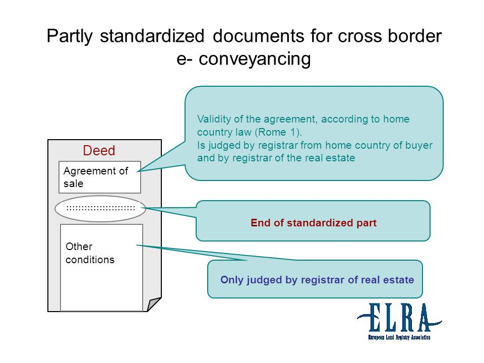Partly standardized documents for cross border e- conveyancing Agreement of sale Other conditions Deed.......................