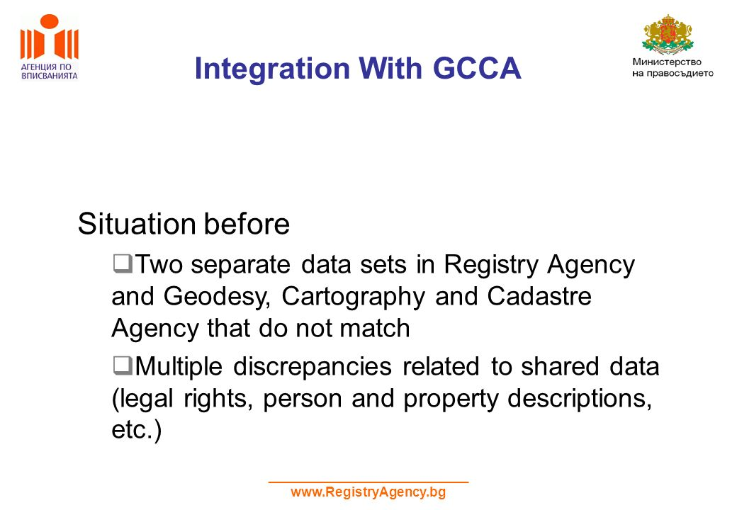 ___________________________ www.RegistryAgency.bg Integration With GCCA Situation before Two separate data sets in Registry Agency and Geodesy, Cartography and Cadastre Agency that do not match Multiple discrepancies related to shared data (legal rights, person and property descriptions, etc.)