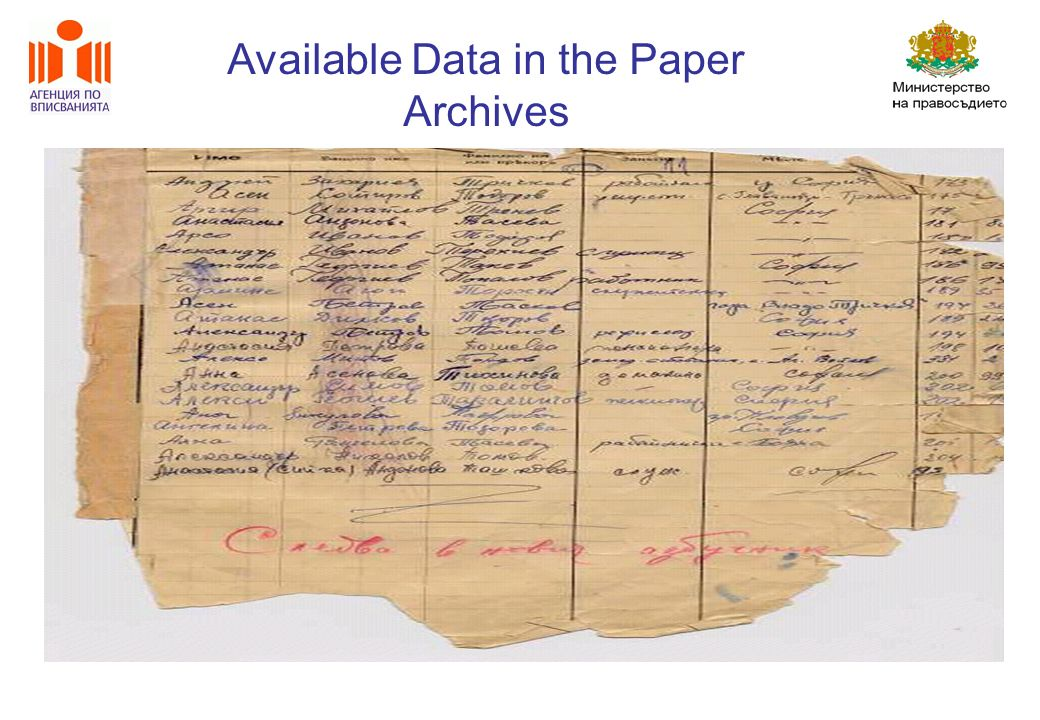 Available Data in the Paper Archives