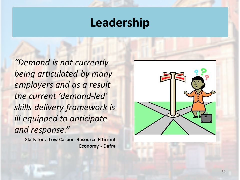 Leadership Demand is not currently being articulated by many employers and as a result the current demand-led skills delivery framework is ill equipped to anticipate and response.