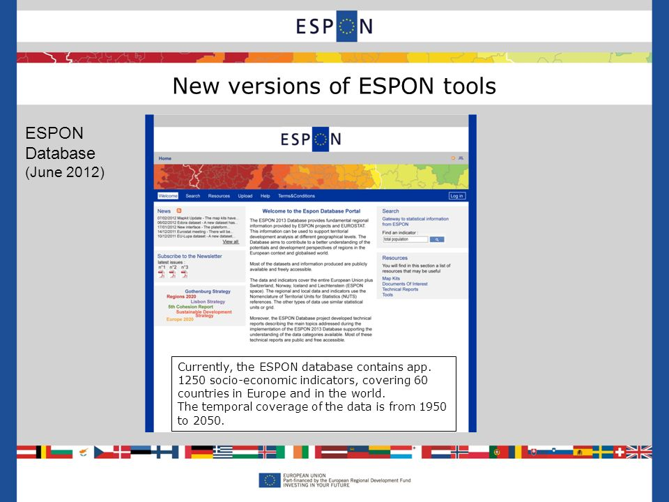 New versions of ESPON tools ESPON Data base Hyperatlas Currently, the ESPON database contains app.
