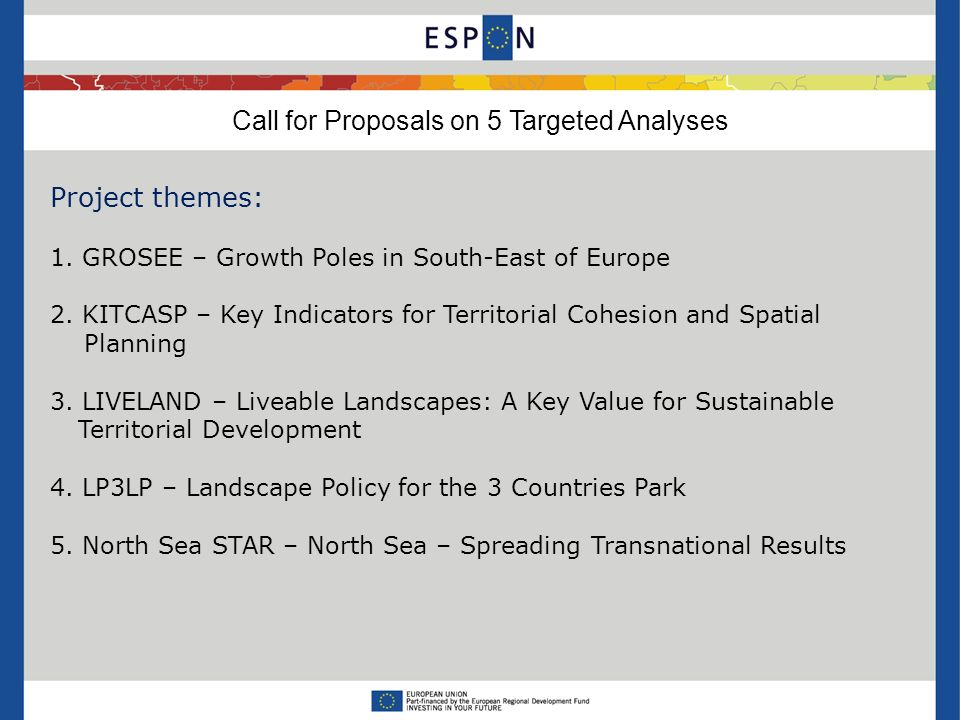 Call for Proposals on 5 Targeted Analyses Project themes: 1.