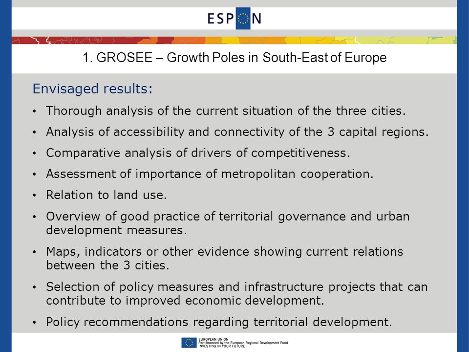 Envisaged results: Thorough analysis of the current situation of the three cities.
