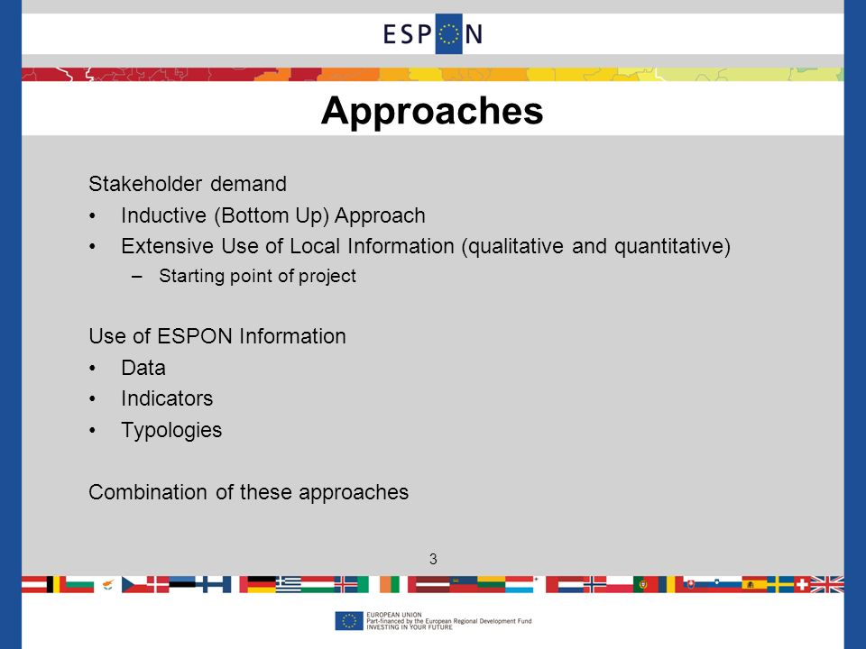 Stakeholder demand Inductive (Bottom Up) Approach Extensive Use of Local Information (qualitative and quantitative) –Starting point of project Use of ESPON Information Data Indicators Typologies Combination of these approaches Approaches 3