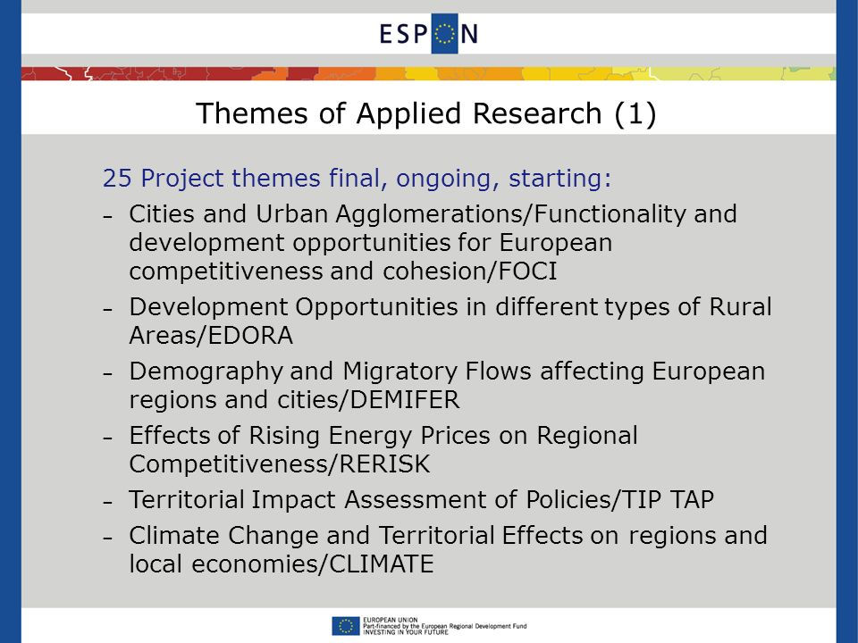 Themes of Applied Research (1) 25 Project themes final, ongoing, starting: – Cities and Urban Agglomerations/Functionality and development opportunities for European competitiveness and cohesion/FOCI – Development Opportunities in different types of Rural Areas/EDORA – Demography and Migratory Flows affecting European regions and cities/DEMIFER – Effects of Rising Energy Prices on Regional Competitiveness/RERISK – Territorial Impact Assessment of Policies/TIP TAP – Climate Change and Territorial Effects on regions and local economies/CLIMATE