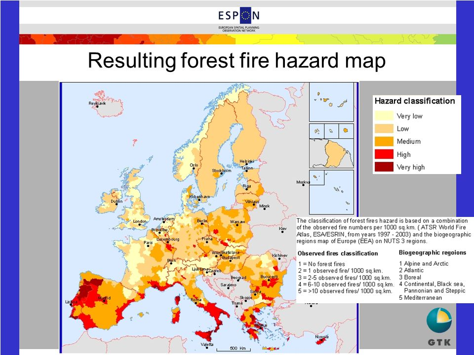 Resulting forest fire hazard map