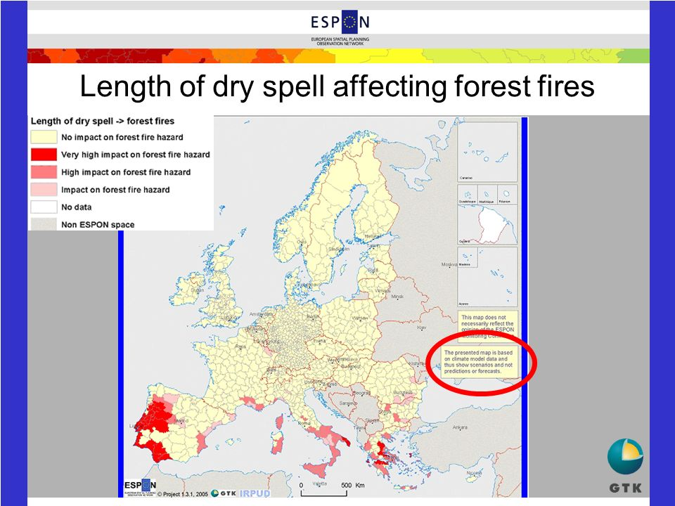 Length of dry spell affecting forest fires