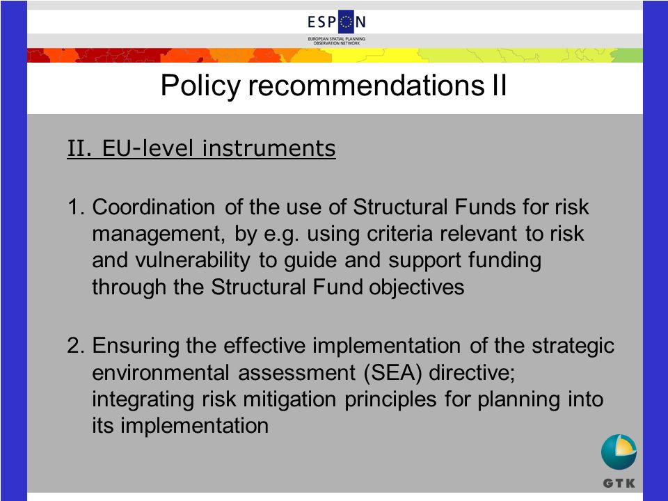 Policy recommendations II II.