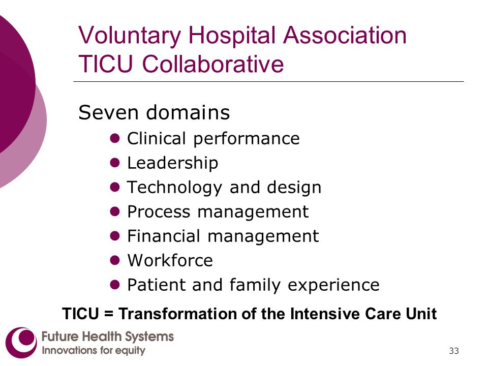 33 Voluntary Hospital Association TICU Collaborative Seven domains Clinical performance Leadership Technology and design Process management Financial management Workforce Patient and family experience TICU = Transformation of the Intensive Care Unit