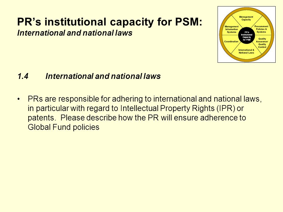 PRs institutional capacity for PSM: International and national laws 1.4International and national laws PRs are responsible for adhering to international and national laws, in particular with regard to Intellectual Property Rights (IPR) or patents.