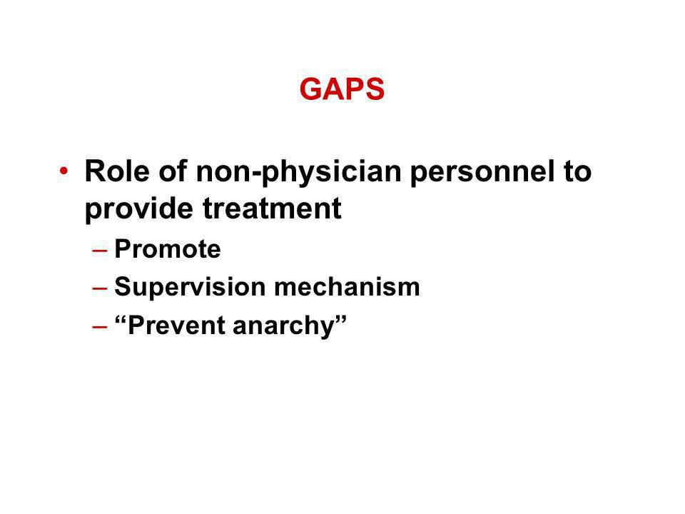 GAPS Role of non-physician personnel to provide treatment –Promote –Supervision mechanism –Prevent anarchy