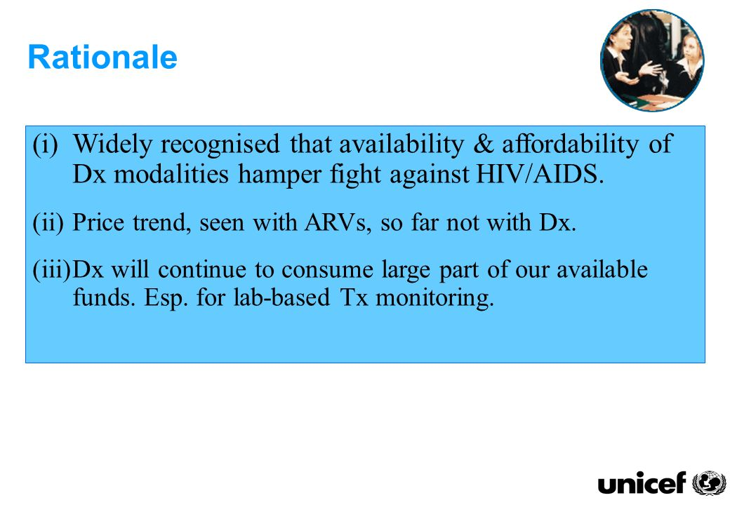 (i)Widely recognised that availability & affordability of Dx modalities hamper fight against HIV/AIDS.