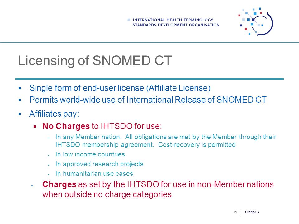 Licensing of SNOMED CT Single form of end-user license (Affiliate License) Permits world-wide use of International Release of SNOMED CT Affiliates pay : No Charges to IHTSDO for use: In any Member nation.